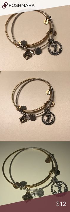 2 alex and ani bracelets- bumble bee and anchor Two alex & ani brackets barely worn. Gold bumble bee and silver anchor, sold as a set. Alex & Ani Jewelry Bracelets