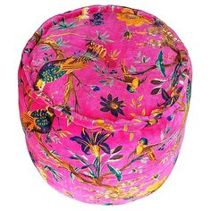 Modelli Creations Pink Velvet Tropical Bird Print Pouf | Pure Home