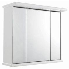 Ultra Niche Triple Mirror Cabinet with Light, Shaving Socket and Digital Clock - LQ375