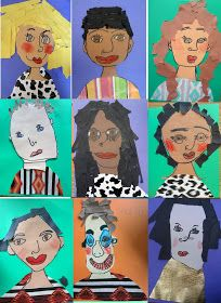 First grade self portraits, kids self portrait lesson, kinder self portraits kind of directed drawing for eyes, nose and mouth. Collage Kunst, Collage Art, Projects For Kids, Art Projects, Fridah Kahlo, Portraits For Kids, Self Portrait Art, Collage Portrait, First Grade Art