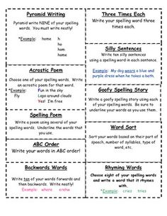Spelling Homework - students pick 3 ways to practice words each week