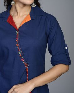 Looking for beautiful neck designs for plain Kurtis/Kurthas ? Here are 20 flattering designs that can add a dash of style to your kurti style. Churidar Neck Designs, Kurta Neck Design, Kurta Designs Women, Salwar Designs, Collar Kurti Design, Plain Kurti Designs, Designs For Dresses, Dress Neck Designs, Blouse Designs