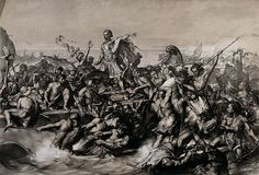 Giulio Cesare sbarca in Britannia, incisione di Edward Armitage