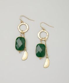 Look what I found on #zulily! Gold & Green Willa Earrings #zulilyfinds