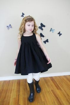 sleeveless dress in black linen with Gathered by Makeaforcutekids, $129.42