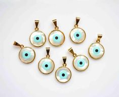 White Shell evil eye pendant, evil eye pendant with gold plated,  Jewelry Findings