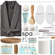 Spa Day by fee4fashion on Polyvore featuring косметика, Erno Laszlo… Sea Salt Body Scrub, Meraki, Lipsy, Spa Day, Pottery Barn, Erno Laszlo, Polyvore, Origins, Christian Dior