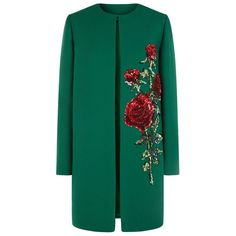 Dolce & Gabbana Embellished Rose Coat (€5.095) ❤ liked on Polyvore featuring outerwear, coats, coats & jackets, dolce&gabbana, collarless coat, sequin coat, evening coat and blue coat