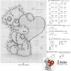 Free Bear Cross Stitch Patterns | Tatty Teddy Heart Pattern