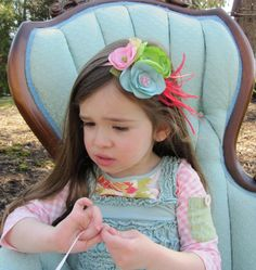 LOLLIPOP LICKS Vintage Inspired  Boutique Flower Headband or Hair Clip with Feathers m2m Matilda Jane Serendipity. $24.50 USD, via Etsy.