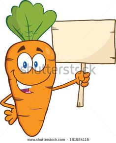 Funny Carrot Cartoon Character Holding A Wooden Board. Vector Illustration Isolated on white