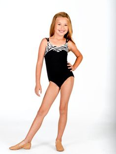 CHILD CAMISOLE LEOTARD WITH ZEBRA TRIM black and white or black and hot pink size intermediate