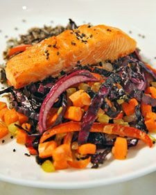 "Salmon-Ginger Rice Bowl  Sesame seeds sprinkled over this heart-healthy salmon from nutritionist Cynthia Sass's ""Cinch!"" cookbook will help you feel fuller, longer."