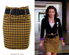 Think back - to one of the first times we ever saw Rachel Berry, storming down a Ohio high school hallway in legwarmers.  True, classic, undeniable Berry!  Forever 21 Black and Yellow Pencil Skirt - No longer available - long pearl strand necklace, pearl stud earrings, white cami / shell top sleeveless tank, flower pins, mustard yellow and black checkered pencil miniskirt, black wide waist belt, black blazer
