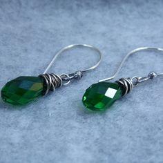 Wire Wrapped Moss green Swarovski Briolette Earrings by gbjewel, $21.00