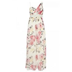 Quiz Cream/Coral Floral Print One Shoulder Maxi dress.  Maybe for the wedding