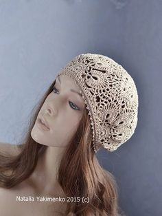 Crochet  summer women's hat beret, beige crochet flower hat, lace summer hat