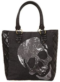 Loungefly - Denim Sequin Skull Tote | Accessories