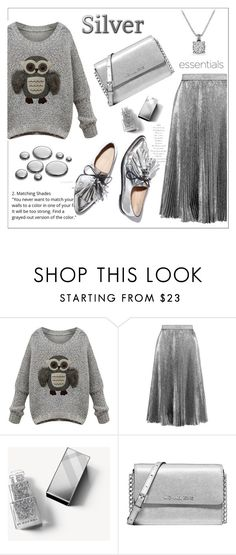 """""""Gray Owl Sweater"""" by amchavesj-1 ❤ liked on Polyvore featuring Christopher Kane, Burberry, Michael Kors, David Yurman, Loeffler Randall, Silver, loafers, pleatedskirt and fallsweater"""