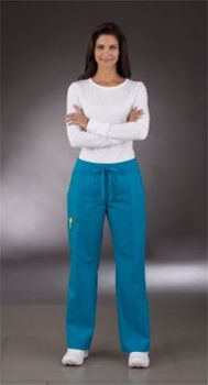 "Peaches Uniforms Comfort Pant 7438 THE COMFORT PANT (7438)  Regular: XS - 3X (31"" inseam)  Petite: XS - XL (29"" inseam)  Tall: XS - XL (33 1/2"" inseam)  65% Poly/35% Cotton Tranquility Fabric     • Tranquility Fabric  • Straight cut leg  • Wide ribbed drawstring waistband  • Deep side welt pockets  • Fashionable back pockets $23.40 #scrub #scrubcouture #nurses"