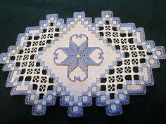 Hardanger-Doily-Norwegian-Embroidery-White-with-blues-Hand-Made