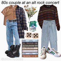 yay whats your favourite alt rock band? :D anyways i had a fun day today i think im gonna bake cookies later hm - button up top and the… Vintage Outfits, Retro Outfits, Casual Outfits, Fall Outfits, Scene Outfits, Beach Outfits, Aesthetic Fashion, Aesthetic Clothes, Aesthetic Grunge