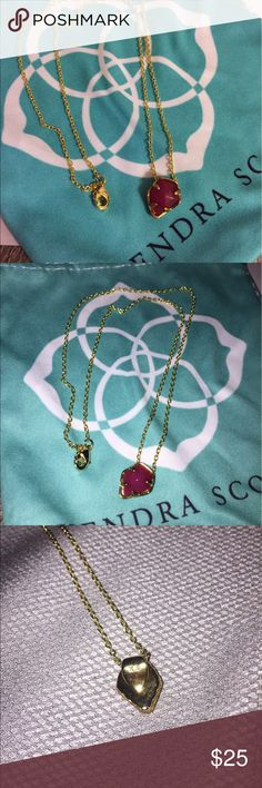 Kendra Scott charm necklace I decided I wanted more for this because the chain itself is still $25 at Kendra Scott and I have never touched it. The charm is removable, it's a maroon/purple color! Never wore this necklace! Kendra Scott Jewelry Necklaces