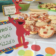 """Sesame Street Party Food: Elmo's Mini Pizza. These """"giant bagel bites"""" were a hit."""