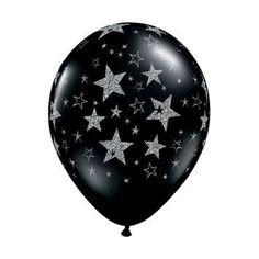 "11"" Latex Balloon, Silvery Glitter Stars on Black"