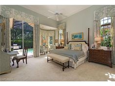 2686 Firebush, Naples, FL 34105 | Beautiful master bedroom with stunning custom draperies.  Avila at Grey Oaks