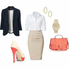 Coral and blue navy outfit