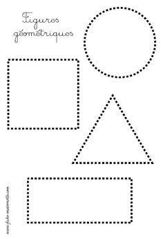 les figures géométriques : repasser les pointillés