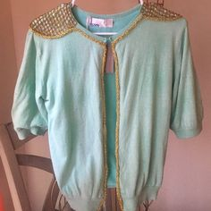 Anthropology: iLove binetti sweater Beautiful light blue cardigan with sequin and gold embellishments.  Never been worn tags still attached. Sweaters Cardigans