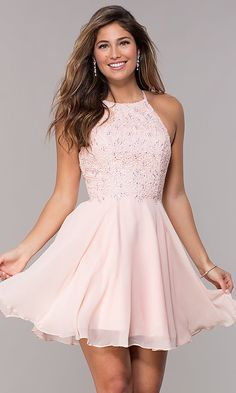 b24b8154ee Alyce High-Neck Short Open-Back Homecoming Dress