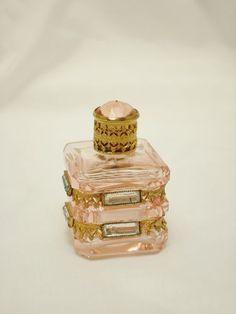 Vintage Czech pink cut glass, filigree jewel top, perfume bottle.