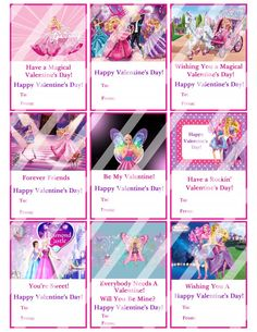 Barbie Valentines Day Cards Sheet #5 (instant download or printed)