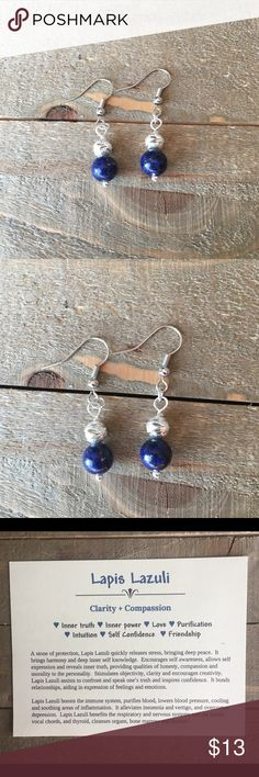 Lapis Lazuli Earrings I designed and made these earrings with natural Lapis Lazuli, silver flower patterned beads and nickel free ear wires. Handmade Jewelry Earrings