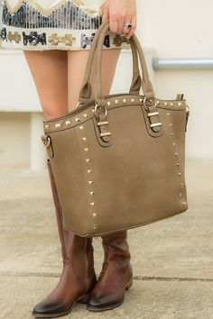 Purse (any thing BIG, leather, suede, with studs, color black, brown, or burgandy)