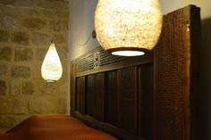 "EXCLUSIVE SUITES BOUTIQUE HOTEL. MEDIEVAL TOWN, RHODES, GREECE. - ""Gülbin"" suite. Bedroom. Beech wood bed header, ca 1910, Bulgaria. - kokkiniporta.com Rhodes Hotel, Wood Beds, Medieval Town, Bulgaria, Header, Modern Design, Greece, Hotels, Table Lamp"