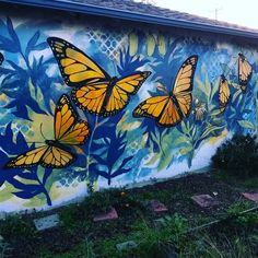 Lovely butterflies to brighten the monarch garden behind my garage. Hoping to finish before the rain starts again. #shareart
