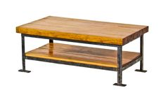 solidly built and well-proportioned vintage american industrial repurposed low-lying two tier table with maple wood bowling alley lane top