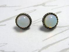 SHIMMERING Round Moonstone Gemstone Pierced by MimzyJewelry