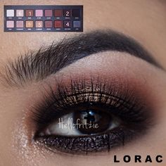 Using @loraccosmetics LORAC PRO palette 1.apply taupe on crease 2.apply espresso on the inner and outer corners of top lid and blend with taupe 3.pat gold on mid lid 4.line waterline with a black liner and smudge deep purple on Lower lash line 5.use LT. Bronze to highlight tearduct 6. Lastly, highlight brow bone with cream Lashes// Paris Dimensional @flutterlashesinc tag a friend #hellofritzie #lorac #vegas_nay