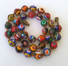 "Murano Venetian Millefiori  Beads Necklace, 17.5"" Multi Color Art Glass Beads"