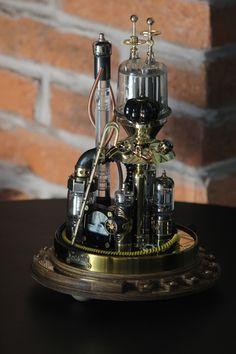Steampunk Desk, Steampunk Fashion, Power Wire, Copper And Brass, Glass Domes, Unique Furniture, Lamp Design, Desk Lamp, Etsy