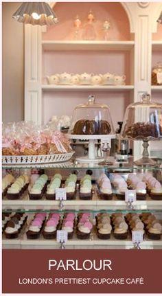 Inside Parlour, cake designer Peggy Porschen's adorable cupcake cafe in London.