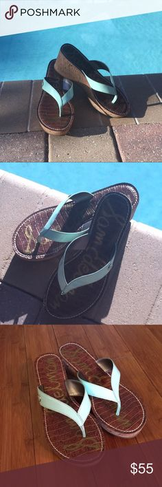 Sam Edelman Platform Flip Flops Get ready for summer with these Sam Edelman platform flip flops. Platform is brown with real straps. These have been worn a handful of times and are in wonderful condition. Sam Edelman Shoes Platforms