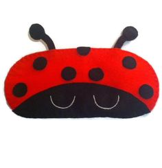 Sleep mask with ladybird design ladybug eye mask Insect by NipNopz Diy Eye Mask, Cute Sleep Mask, Pyjamas, Plush Pattern, Craft Accessories, Foam Crafts, Sewing For Kids, Hobbies And Crafts, Paper Dolls