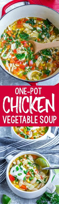 This healthy one-pot chicken and vegetable soup is an easy weeknight dinner! Great for meal-prep + even better the next day!