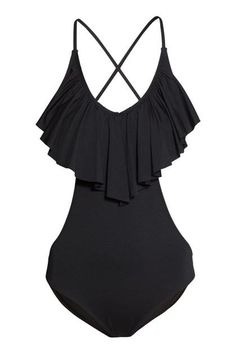 19 one piece swimsuits that are fashionable, flattering and chic...H&M ruffled swimsuit